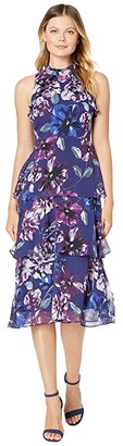 Vince Camuto Printed Chiffon High Neck Midi Dress (Indigo Multi) Women's Clothing