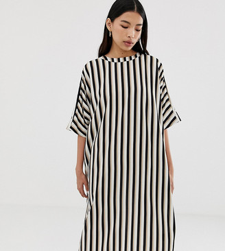 Weekday oversized midi dress in mono stripe-Multi
