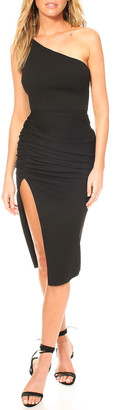 Katie May New Age One-Shoulder Crepe Dress with Cutout Back & Thigh Slit