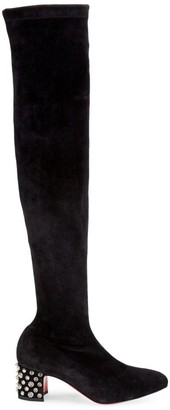 Christian Louboutin Study Over-The-Knee Studded Strech Suede Boots