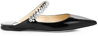 Jimmy Choo Bing Embellished Patent Leather Flat Mules