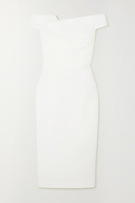 Roland Mouret Monamy Off-the-shoulder Wool-crepe Midi Dress - White
