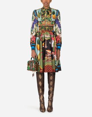 Dolce & Gabbana Midi Dress In Twill With Autumn Print