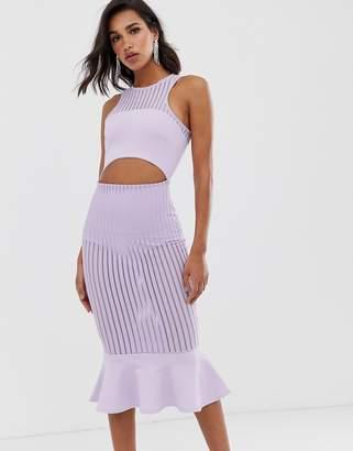 Asos Design DESIGN self stripe halter midi pep hem detail midi dress-Purple