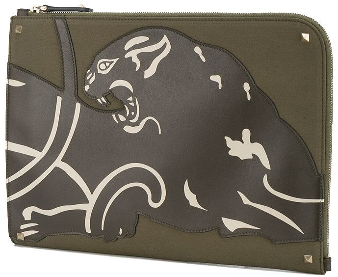Valentino Green panther document case