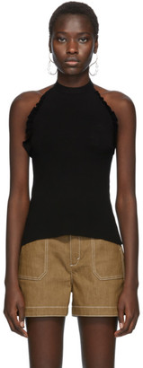 See by Chloe Black Ruffle Halter Tank Top