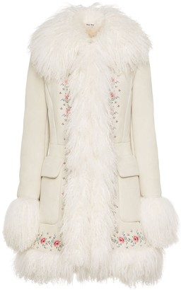 Miu Miu Floral Embroidered Shearling Coat