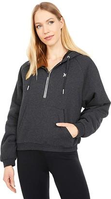 Hurley Telluride Sherpa 1/2 Zip Pullover Hoodie (Black Heather 1) Women's Clothing