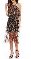 Gianni Bini Betty Popover Embroidered Floral Midi Dress
