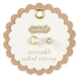 Mud Pie CHELSEA INITIAL AND PAVE EARRINGS - C