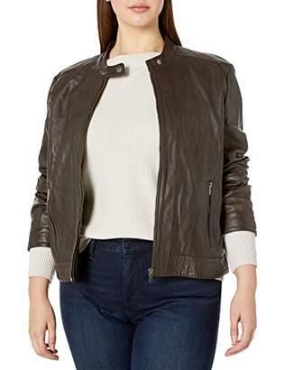 Excelled Women's Plus Size Leather Moto Collar Scuba