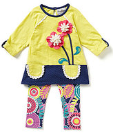 Rare Editions Baby Girls 12-24 Months Flower-Appliqued Color Block Dress & Floral Leggings Set