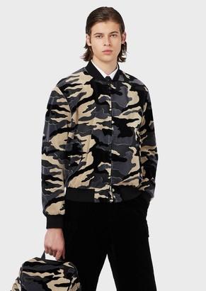 Emporio Armani Bomber In Camouflage Velvet