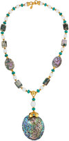 Jose & Maria Barrera Golden Beaded Abalone Y-Drop Pendant Necklace
