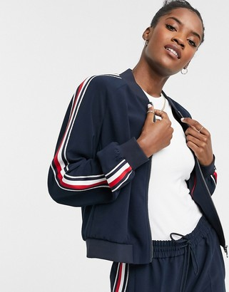 Tommy Hilfiger side stripe bomber jacket in navy