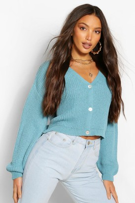 boohoo Tall Knitted Button Through Crop Cardigan