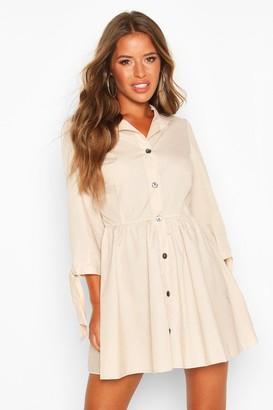 boohoo Petite Button Through Smock Dress