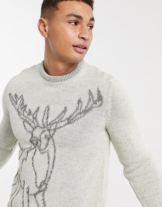 ASOS DESIGN knitted christmas sweater with stag design
