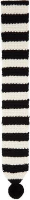 Ami Alexandre Mattiussi Black and White Crochet Pompom Scarf