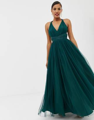 Asos Design DESIGN Premium Tulle Maxi Prom Dress With Ribbon Ties-Green