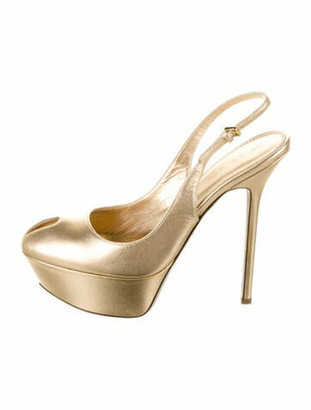 Sergio Rossi Leather Slingback Pumps w/ Tags Gold