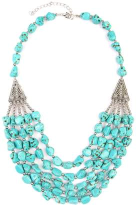 Riah Fashion Triangle Pebble Layer Necklace
