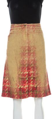 Roberto Cavalli Multicolor Faded Houndstooth Print Denim Skirt S