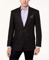Tallia Men's Big & Tall Slim-Fit Charcoal/Light Brown Windowpane Sport Coat