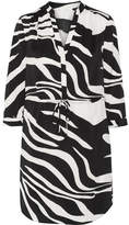 Diane von Furstenberg Freya Zebra-print Stretch-silk Dress - Black