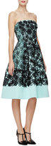 Oscar de la Renta Strapless Floral Fit-&-Flare Dress, Seafoam/Black