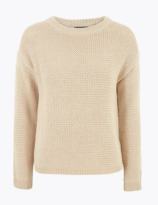 Marks and Spencer Pure Cotton Textured Relaxed Jumper