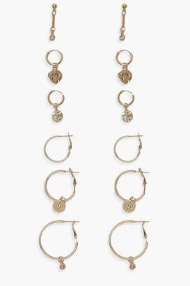boohoo Celestial Hoop And Stud Earring 6 Pair Pack