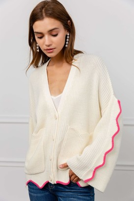 J.ING Finnegan White Knit Cardigan