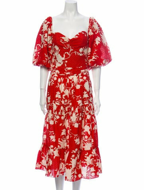 Johanna Ortiz Floral Print Midi Length Dress Red