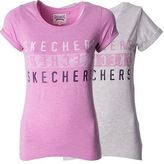Skechers Desginer Womens T Shirt Ladies Scoop Neck Sports Tee Gym Top Size 8-16