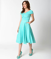 Unique Vintage Retro 1950s Style Mint & White Polka Dot Sleeveless Swing Dress