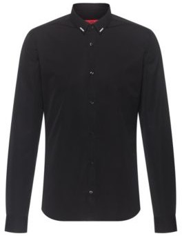 HUGO BOSS Cotton Extra Slim Fit Shirt With Reflective Collar Print - Black