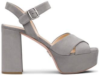 Prada Crisscross Platform Sandals