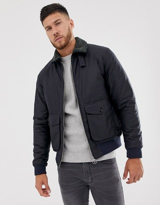 Barbour Goosall wax jacket with borg collar in navy