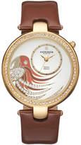 Akribos XXIV Women's Empire Diamond Parrot Leather Swiss Watch