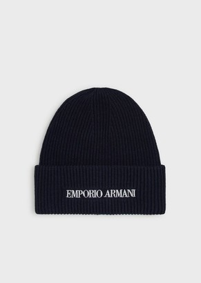 Emporio Armani Ribbed Wool Blend Beanie With Embroidered Logo