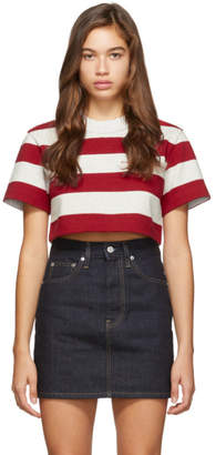 Alexander Wang Red and Grey Striped Cropped Chynatown T-Shirt