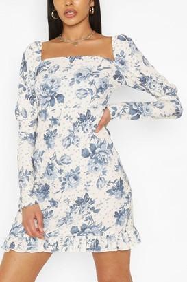 boohoo Tall Woven Spot Floral Print Puff Sleeve Dress