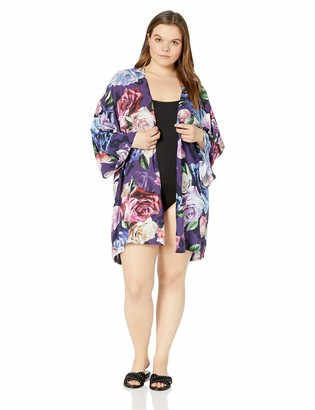 La Blanca Women's Plus Size Open Front Kimono Cover Up