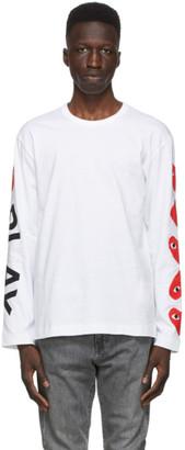 Comme des Garcons White Multi Hearts Big Logo Long Sleeve T-Shirt