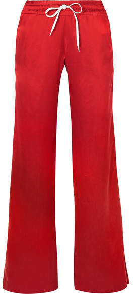 Amiri Leather-trimmed Washed-silk Track Pants - Red
