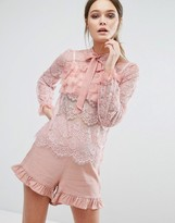 True Decadence Lace All Over Ruffle Blouse