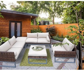 Gruber Patio 5 Piece Sectional Seating Group with Cushions Brayden Studio Frame Color: Brown