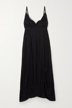 Jil Sander Novella Tiered Plisse-crepe Midi Dress - Black