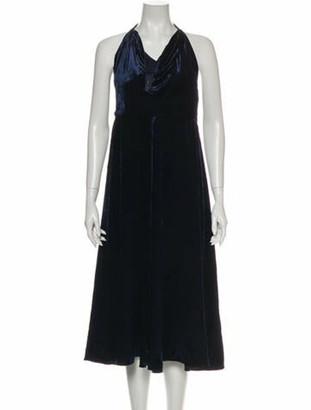 Valentino Cowl Neck Midi Length Dress Blue